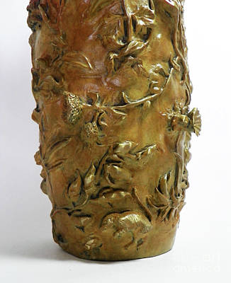 Sculpture - Wildflower Promise - Bronze Vase - Detail by Dawn Senior-Trask