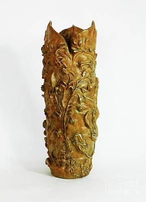 Sculpture - Wildflower Promise - Bronze Vase, View 2 by Dawn Senior-Trask