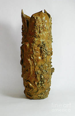 Sculpture - Wildflower Promise - Bronze Vase - View 3 by Dawn Senior-Trask