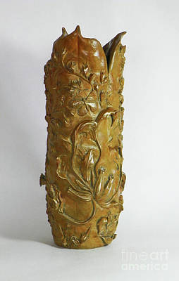 Sculpture - Wildflower Promise - Bronze Vase by Dawn Senior-Trask