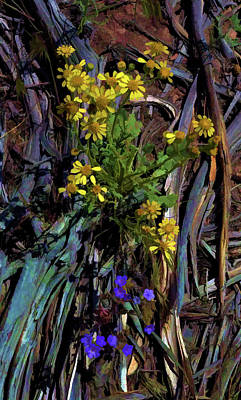 Digital Art - Wildflowers And Wood by Aliceann Carlton