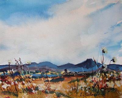 Painting - Wildflowers At The Black Pedernal by Laurie Salmela