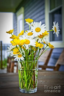 White Daisy Photograph - Wildflowers Bouquet At Cottage by Elena Elisseeva