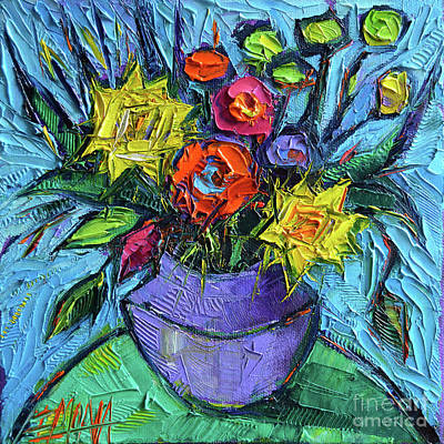 Wildflowers Bouquet On Green Table - Impasto Palette Knife Oil Painting - Mona Edulesco Art Print by Mona Edulesco