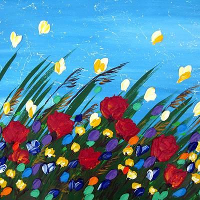 Wildflowers Dancing Art Print by Cathy Jacobs