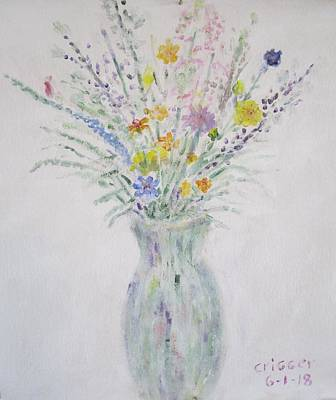 Painting - Wildflowers In Glass Vase by Glenda Crigger