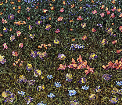 Print featuring the painting Wildflowers by James W Johnson