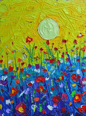Vivid Colour Painting - Wildflowers Meadow Sunrise by Ana Maria Edulescu