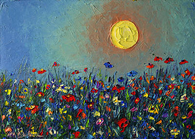 Vivid Colour Painting - Wildflowers Meadow Sunrise Modern Floral Original Palette Knife Oil Painting By Ana Maria Edulescu by Ana Maria Edulescu
