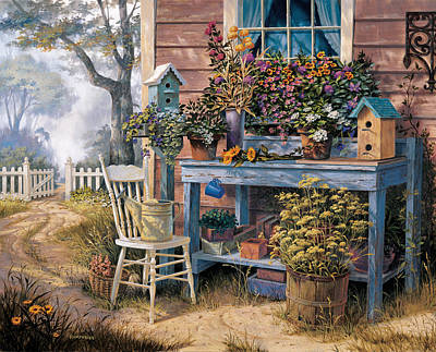 Picket Fence Painting - Wildflowers by Michael Humphries
