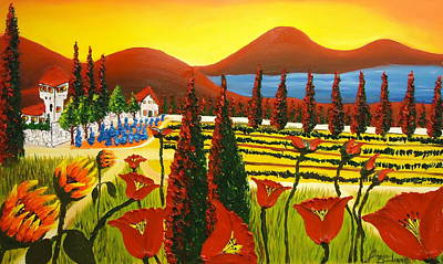 Winery Painting - Wildflowers Of Tuscany 3 by Portland Art Creations