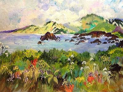 Painting - Wildflowers On Sonoma Coast by Esther Woods