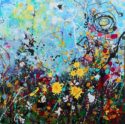 Painting - Wildflowers Panel3 by Angie Wright