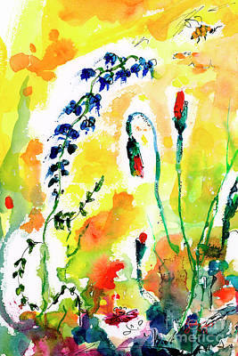 Wildflowers Provence Poppies And Bees Art Print