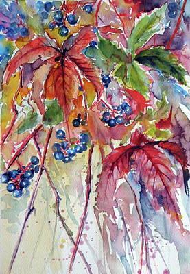 Grapes Painting - Wildgrapes by Kovacs Anna Brigitta