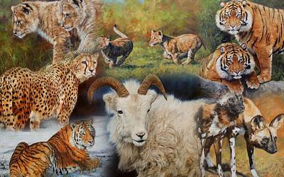 Mountain Goat Painting - Wildlife Collage by David Stribbling