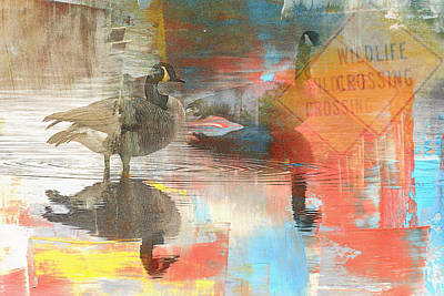 Canadian Geese Mixed Media - Wildlife Crossing by Charlotte DiSipio-Grillo