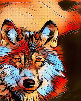 Mixed Media - Wildlife Wolf 1 by Ayasha Loya