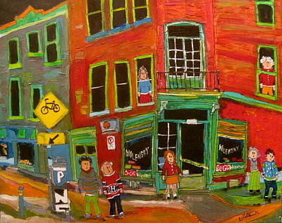 Wilensky Snack Bar Painting - Wilensky And Bicycle Path Montreal Memories by Michael Litvack