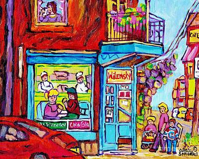 Painting - Wilensky Deli Dinner For Two Montreal Art Paintings Of Montreal C Spandau Montreal Street Scene Art  by Carole Spandau