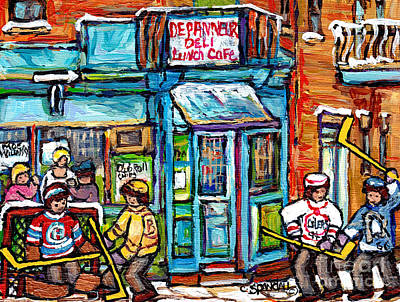 Painting - Wilensky Deli Montreal Winterscene Paintings For Sale 4 Hockey Jerseys Canadian Hockey Art C Spandau by Carole Spandau