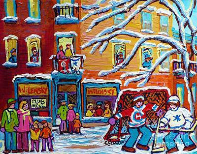 Our National Sport Painting - Wilensky Deli Paintings Plateau Mont Royal Kids Winter Hockey Scene Canadian Art Carole Spandau      by Carole Spandau