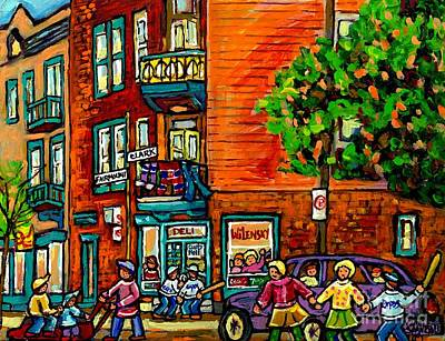 Baseball Scene Painting - Wilensky Diner Little League Expo Kids Baseball Painting Montreal Scene Canadian Art Carole Spandau  by Carole Spandau