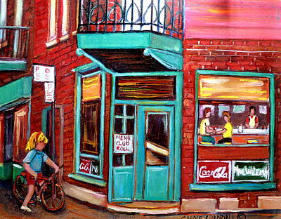 Painting - Wilenskys Cafe On Fairmount In Montreal by Carole Spandau