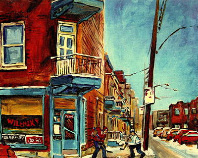Montreal Neighborhoods Painting - Wilensky's Corner Fairmount And Clark by Carole Spandau