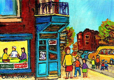 The Main Montreal Painting - Wilensky's Counter With School Bus Montreal Street Scene by Carole Spandau