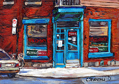 Painting - Wilensky's Doorway With Bicycle Montreal Memories Best Original Canadian Paintings For Sale Cspandau by Carole Spandau
