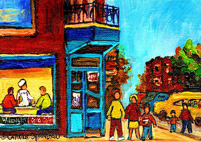Wilensky's Lunch Counter With School Bus Montreal Street Scene Art Print by Carole Spandau