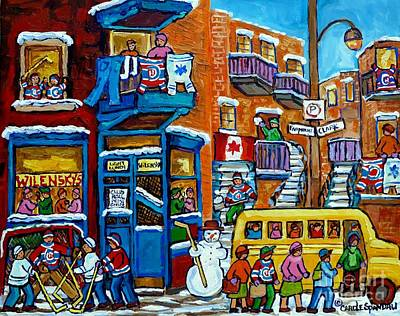 School Bus Painting - Wilensky's Montreal Memories Yellow Schoolbus Snowman Staircase Hockey Art Carole Spandau by Carole Spandau