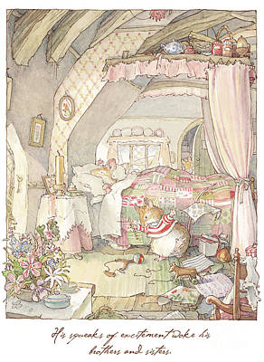 Pencils Drawing - Wilfred's Birthday Morning by Brambly Hedge