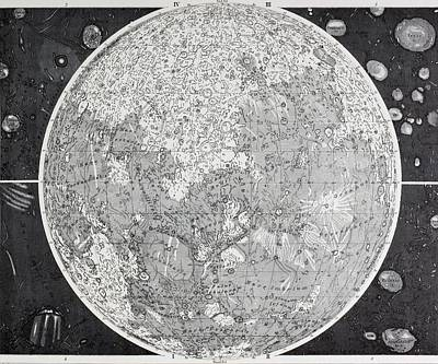 Astronomical Drawing - Wilhelm Wolff Beer And Johann Heinrich by Vintage Design Pics
