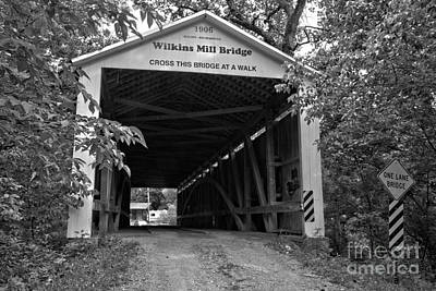 Photograph - Wilkins Mill Covered Bridge Black And White by Adam Jewell