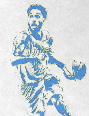 Basket Ball Mixed Media - Will Barton Denver Nuggets Pixel Art by Joe Hamilton