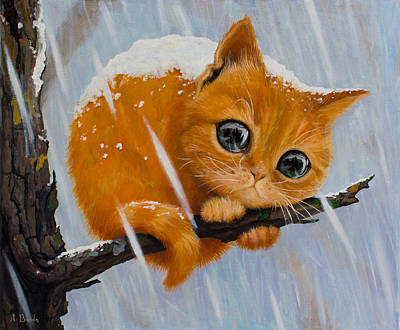 Cat Reflection Painting - Will I Be Forever Alone by Adrian Borda