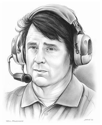 American Football Drawing - Will Muschamp by Greg Joens