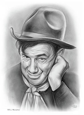 Drawings - Will Rogers 10AUG18 by Greg Joens