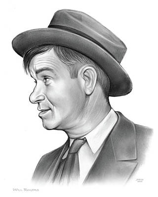 Drawing - Will Rogers by Greg Joens