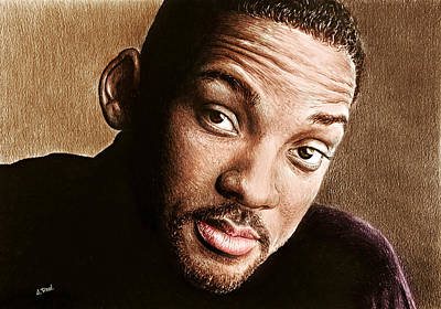 Drawing - Will Smith Colour by Andrew Read