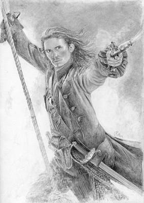 Orlando Bloom Drawing - Will Turner by Bitten Kari