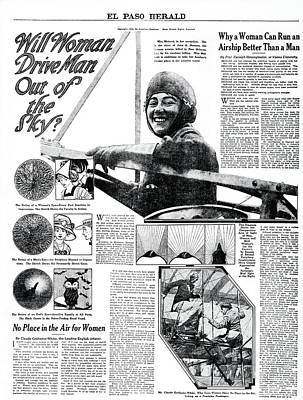 Will Woman Drive Man Out Of The Sky?  1911 Print by Daniel Hagerman