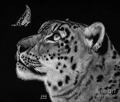 Leopard Drawing - Will You Be My Friend by Sheryl Unwin