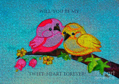 Painting - Will You Be My Tweet Heart Forever by Hazel Holland