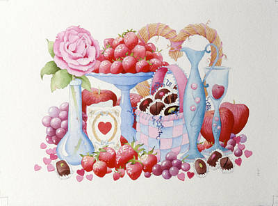 Box Wine Painting - Will You Be My Valentine by Lynette Carrington-Smith
