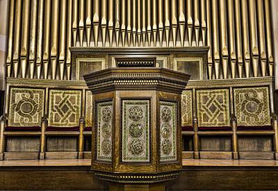 Willard Memorial Chapel Pulpit And Organ Art Print by Stephen Stookey
