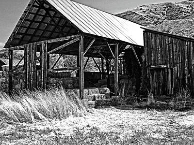Photograph - Willard Hay Shed Bw by David King