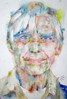 Painting - Willem De Kooning - Watercolor Portrait by Fabrizio Cassetta